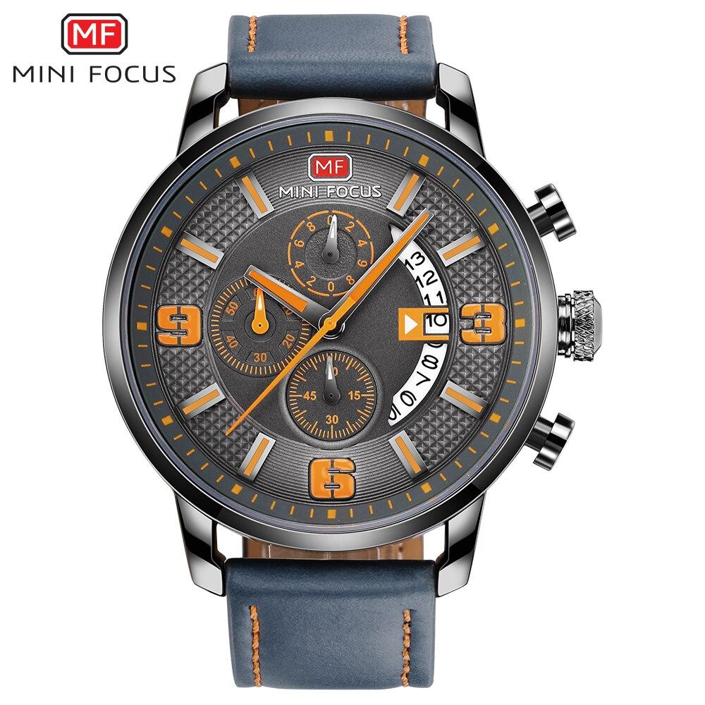 MINIFOCUS 2017 Mens Watches Top Brand Luxury Mens Quartz Watch Waterproof Sport Military Watches Men Leather relogio masculino<br>