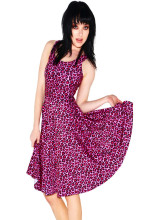 Fashion Women Casual Work Dresses Fit and Flare Digital Printing Pink Leopard SKATER DRESS Vestidos