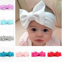New Kid Cotton Headwrap Big Bow Turban Headband For Newborn Hair Top Knot Headband(China)