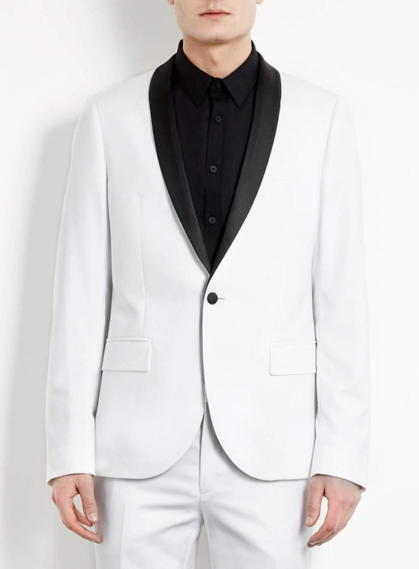 two pieces Suit White Groom Tuxedos Shawl Lapel One Button Best Men Best Men Wedding Suit Prom Dresses( jacket+Pants+tie)