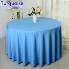 Turquoise colour wedding table cover table cloth polyester table linen hotel banquet round tables decoration wholesale