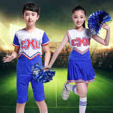 Student Competition Cheerleaders Girl School Cheer Team Uniforms Kids Performance Costume Sets Girls Class Suit Girl Rooter Suit(China)