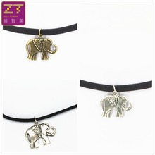 Hot new torques Bijoux Pure Black Velvet Ribbon Retro Elephant necklace pendant Maxi statement Chokers Necklace women jewelry