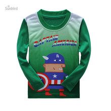 QD-2, 6pcs/lot, superman, Children boys long sleeve T shirts, 3D print cartoon T shirts for 2-7T