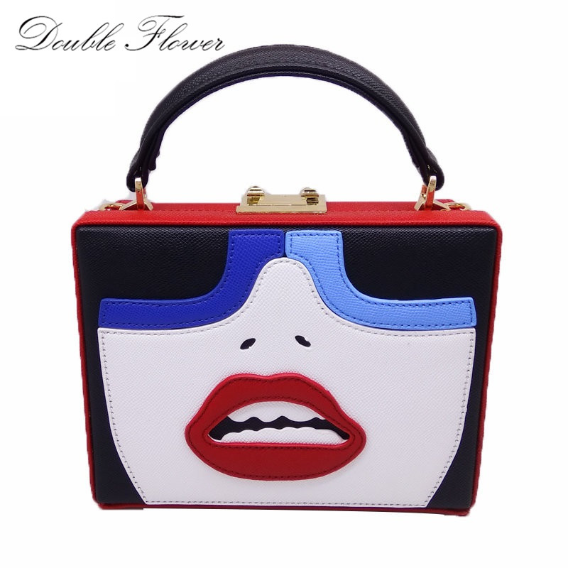 Fashion Women Face Pattern Fashion Handbags Hardcase Box Shoulder Bag Totes Bag Ladies Day Clutches Casual Cross Body Bags Purse<br>