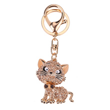 Lovely Cat Crystal Rhinestone Key Chain Holder Purse Bag Car Keyrings Keychain Jewelry Gifts KQS8