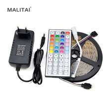1Pcs RGB 5M Waterproof LED Strip light 2835 SMD 60LED/M Ribbon 44Key Controller 12V 3A Power Adapter DIY Holiday String lighting