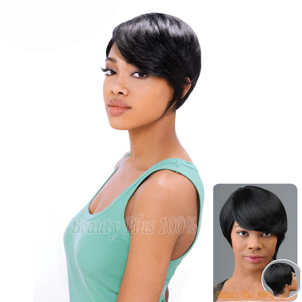 1PC Women Short Bobo Wig Straight Synthetic Wigs Highlighted Kanekalon Fiber For Black White European Jewish one side short<br><br>Aliexpress