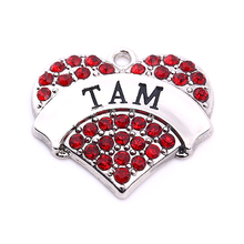 Hot Selling New Arrivalr 20 pcs a lot rhodium plated TAM with red/pink/blue/white crystal heart pendant Drop Shipping(China)