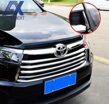 AX Chrome Front Mesh Grill Grille Cover Fit For 2014 2015 2016 Toyota Highlander Kluger Trim Hood Bonnet Garnish Molding Styling