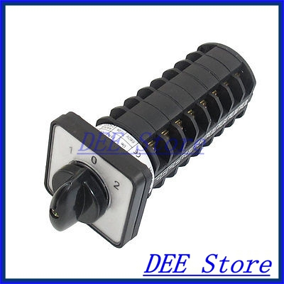 AC 660V 10A 1-0-2 3 Position Self Locking Cam Combination Changeover Switch<br><br>Aliexpress