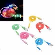 LED Light 8 pin Micro USB Data Sync Charging Cable Charger Cable Cord for Samsung Hauwei Android Phone Tablet Smile Face design