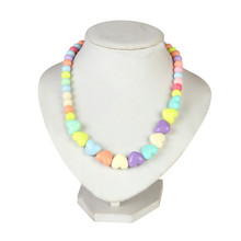 New Arrival Cute Kids Multicolor Acrylic Bead Bow Heart Choker Necklace For Baby Children Girl Collar Jewelry Gift