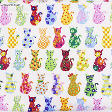 Cotton Canvas Fabric Printed Patchwork Cat Cartoon Fabric For Sofa Tablecloths Bag Doll Cloth Curtain Home Decration Material