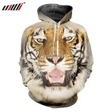 UJWI 3D impreso amarillo Animal nuevo Hoodies del ocio de los hombres feroz  Tigre patrón pareja deportiva gran tamaño 6XL 7977af5bb0c6