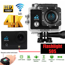Action Camera 4K 30PFS 16MP WIFI Ultra HD Flashlight Camera Diving surfing Bicycle DV Waterproof 170D Helmet bike Cam Sports