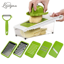 LMETJMA Mandoline Slicer Julienne Slicer Vegetable Slicer Set with 5 Interchangeable Stainless Steel Blades Kitchen Tool LK0724H(China)