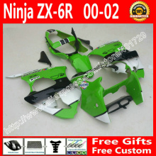 brend new Fairings for2000 2001 2002 Kawasaki zx6r fairing kits 636 ZX6R 00 01 02 green black white fairing kit AF94