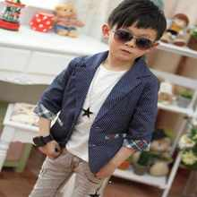Boys Jacket Coat Cool Gentleman Boy Blazer Kids Fashion Suit Jacket Toddlers Boys Plaid Dots Clothing 2-7Y