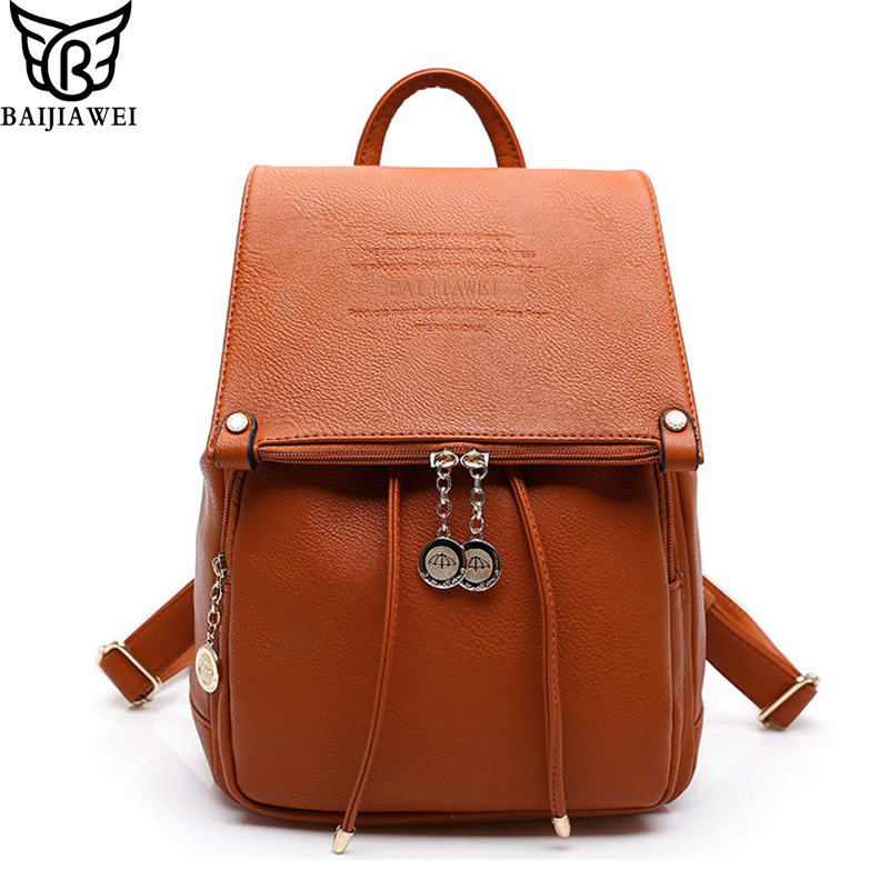 2017 BAIJIAWEI Design PU Leather Women Backpack Casual School Bags For Teenagers Girls High Quality Female Travel Back Packs<br><br>Aliexpress