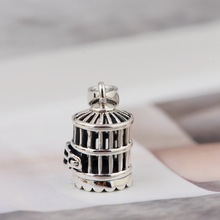 925 Sterling Silver Retro Bird Cage Charm Pendant Prayer Box Jewelry A2841(China)
