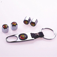 BBQ@FUKA 1set Metal Wheel Tyre Tire Valve Dust Stems Air Caps Cover Emblem +keychain keyring Fit For Fiat Abarth