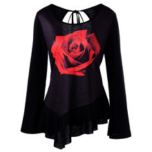 CharMma 2017 New Fashion Autumn 3D Rose Print Cut Out T-Shirt Women Casual Flare Long Sleeve O Neck Tee Female 2XL Tops(China)