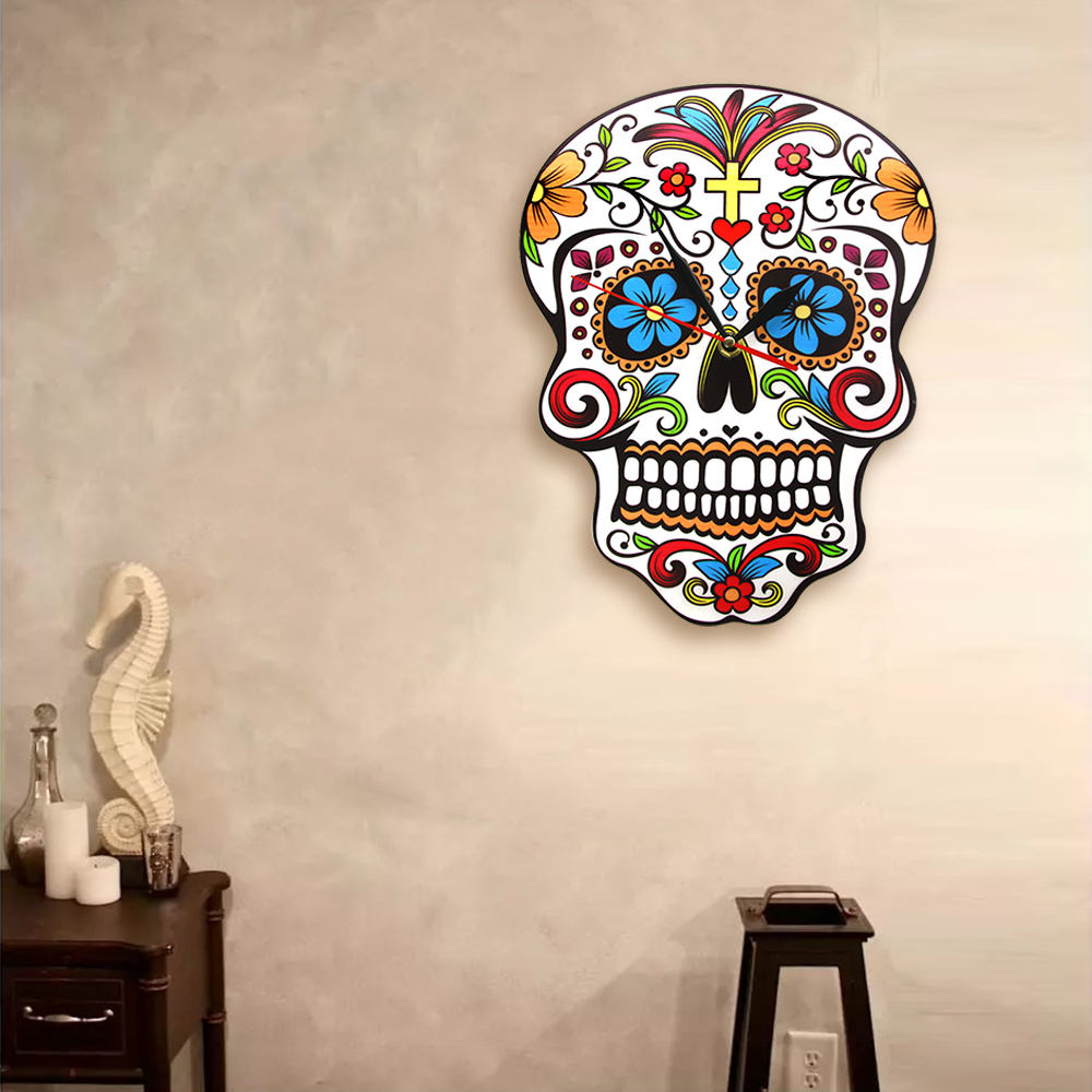 Mexican Dia De Los Muertos Day of the Dead Wall Clock