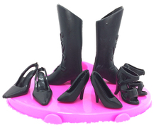 NK 4 pairs/Set Mix Style Black Doll Shoes Fashion Boot Cute Heels Sandals For Barbie Doll High Quality Baby Toy(China)