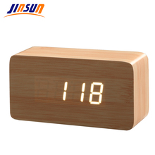 JINSUN Best High-end Alarm clocks Thermometer Wood Wooden LED Digital Voice Table Clock Digital Clock Wekker KSW103-C-BN