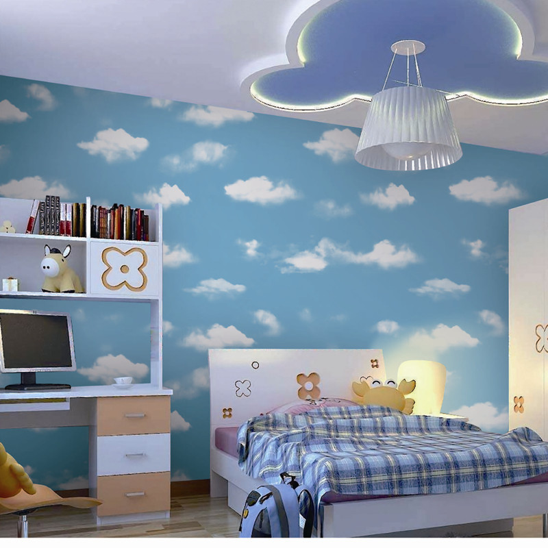 High Quality Mural Wallpaper Modern White Cloud and Blue Sky Wall Paper Decor Kids Room papel de parede tapete bedroom<br>