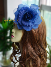Navy blue 15cm silk flower hair accessory for fascinator sinamay hat.with brooch pin hair clip.