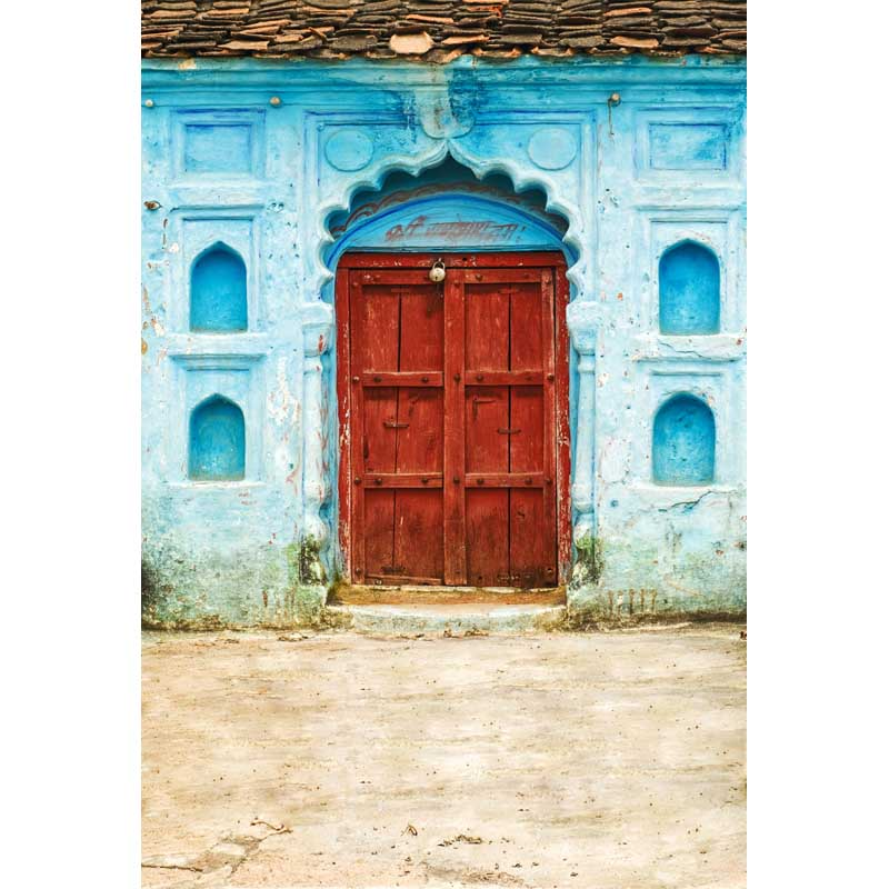 Customize washable wrinkle free blue wall wood old door photography backdrops for kids photo studio portrait