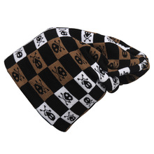 Men's Knitted Skull Winter Hats Punk Rock Style Soft Slouchy Beanie Cap White Black Brown Plaid Pattern