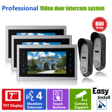 HomefongMonitor Video Doorphones Intercom  System 2 Camera and 3 Monitor  7 Inch 800TVL HD Recordable Door Viewer Doorbell Phone