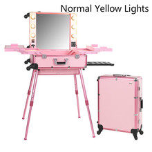 Pink Normal YELLOW Light Professional Travel Aluminum Rolling Cosmetic Case Makeup Lighting Studio(China)