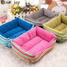 Fine joy Dog Cat Pet Bed Rainbow Soft Puppy Home House Nest Cushion Sofa Pet Kennel New Pets Beds For Small Pets Products Cats(China)