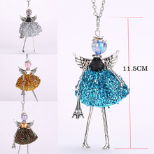 YLWHJJ new women doll long necklace angel wings pendant handmade girl Lovely maxi necklaces & pendants brand hot fashion jewelry