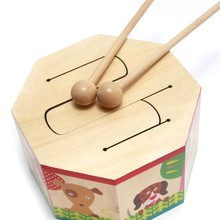 Baby Wooden Drum Toys With Two Mallets Early Learning Educational Musical Percussion Instruments Toys For Kids Children