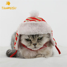 Christmas Pet Hat Red Striped Plaid Pattern Velvet Warm Dog Cat Cap Pet Supplies