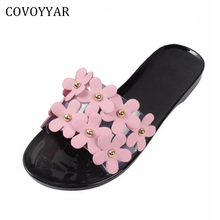 COVOYYAR 2017 Lovely Flowers Women Sandals Beach Jelly Slippers Slides Candy Color Summer Plastic Lady Shoes Size 40 WSS711(China)
