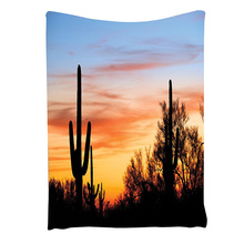 Sunny Desert Cactus Picture Wild Nature Sunset High Resolution Photography Digital Printed Tapestry Wall Hanging Wall Tapestry(China)