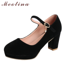 Meotina Women Pumps Platform High Heels Mary Jane Shoes Crystal Buckle Ladies Party Shoes Thick Heel Female Shoes Black Size 43(China)