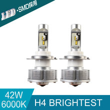 4000LM H4 12 SMD Trucks Auto Led Headlight Manufacturer Bright 6000K 42W Easy Install h4 Headlight Car LED Lamps