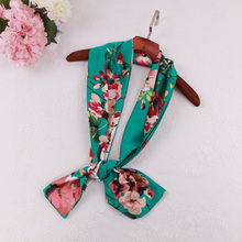 2017 new fashion women spring summer green flower long narrow bag strip small towels satin scarves tie ladies pattern silk scarf