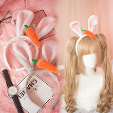 Princess sweet lolita Hairbands Plush rabbit ears headband Judi rabbit card hand soft sister carrot hair headdress GSH129(China)