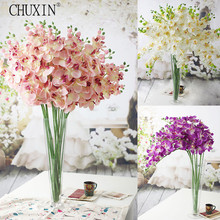 8 heads silk Phalaenopsis Simulation orchids artificial flower for wedding new home decoration gift HI-Q 6pcs/lot