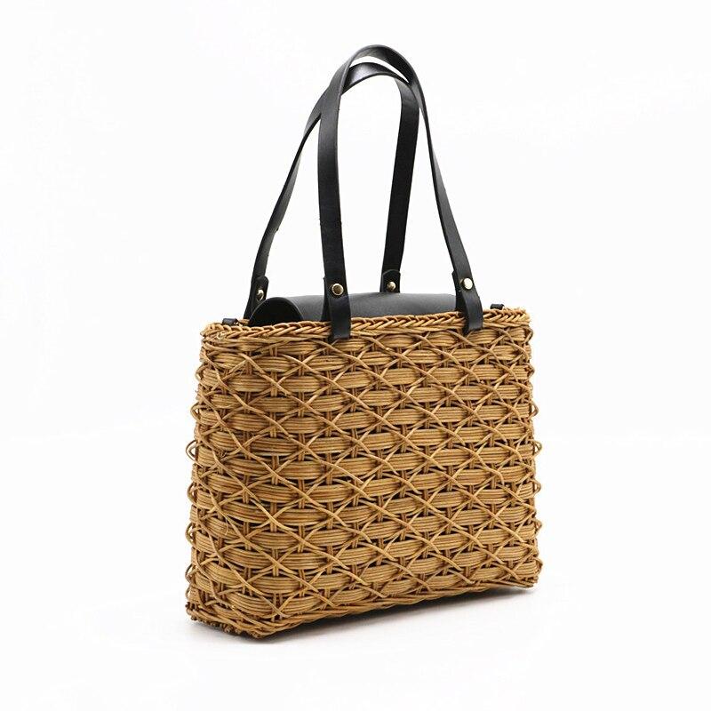 Vacation Bohemian Summer Beach Bag Women Retro Handmade Travel Big Rattan Straw Beach Shoulder Bag Wicker Large Female Bolsos