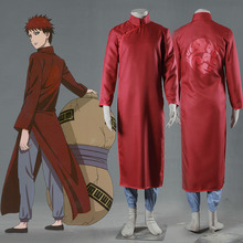 Naruto Gaara Chinese Clothing Version Naruto Cosplay Costume Long Sleeve Red Cheongsam with Pants Adult Men Halloween Costumes