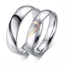 Factory Price Silver Color Couple Ring Quality Stainless Steel Heart Alliance Ring For Women Men Full Size 4-15 gift for lover(China)